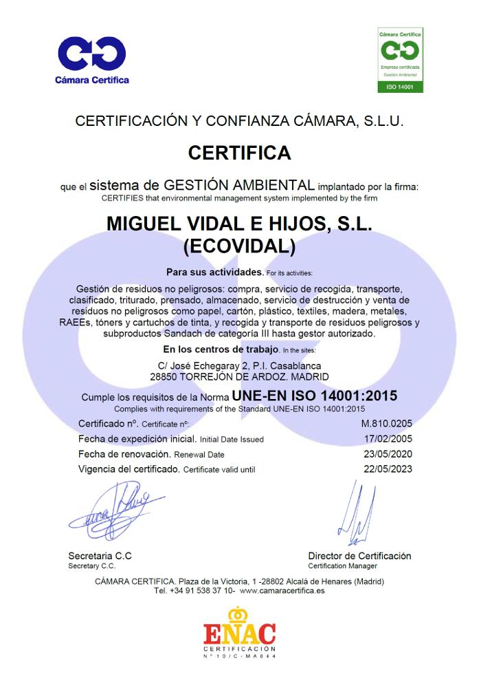Certificado de la camara oficial de comercio e industria de Madrid ISO 14001
