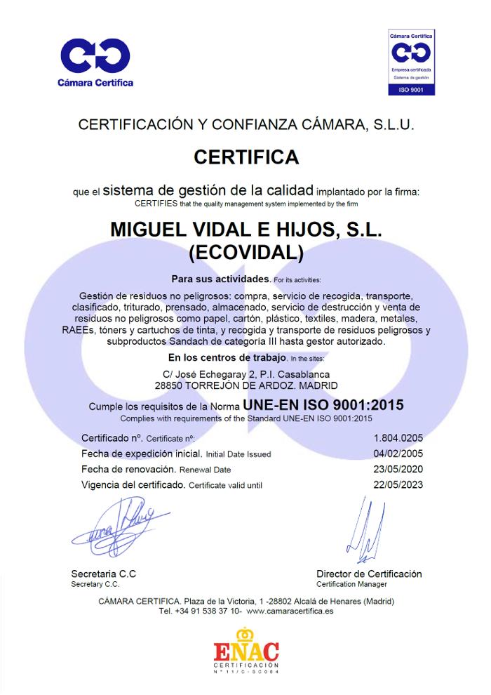 Certificado de la camara oficial de comercio e industria de Madrid ISO 9001